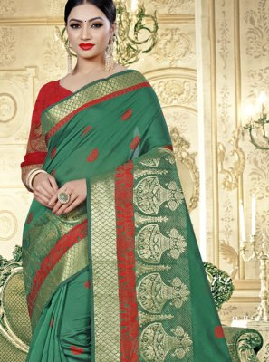 Weaving Teal Art Banarasi Silk Designer Traditional Saree
