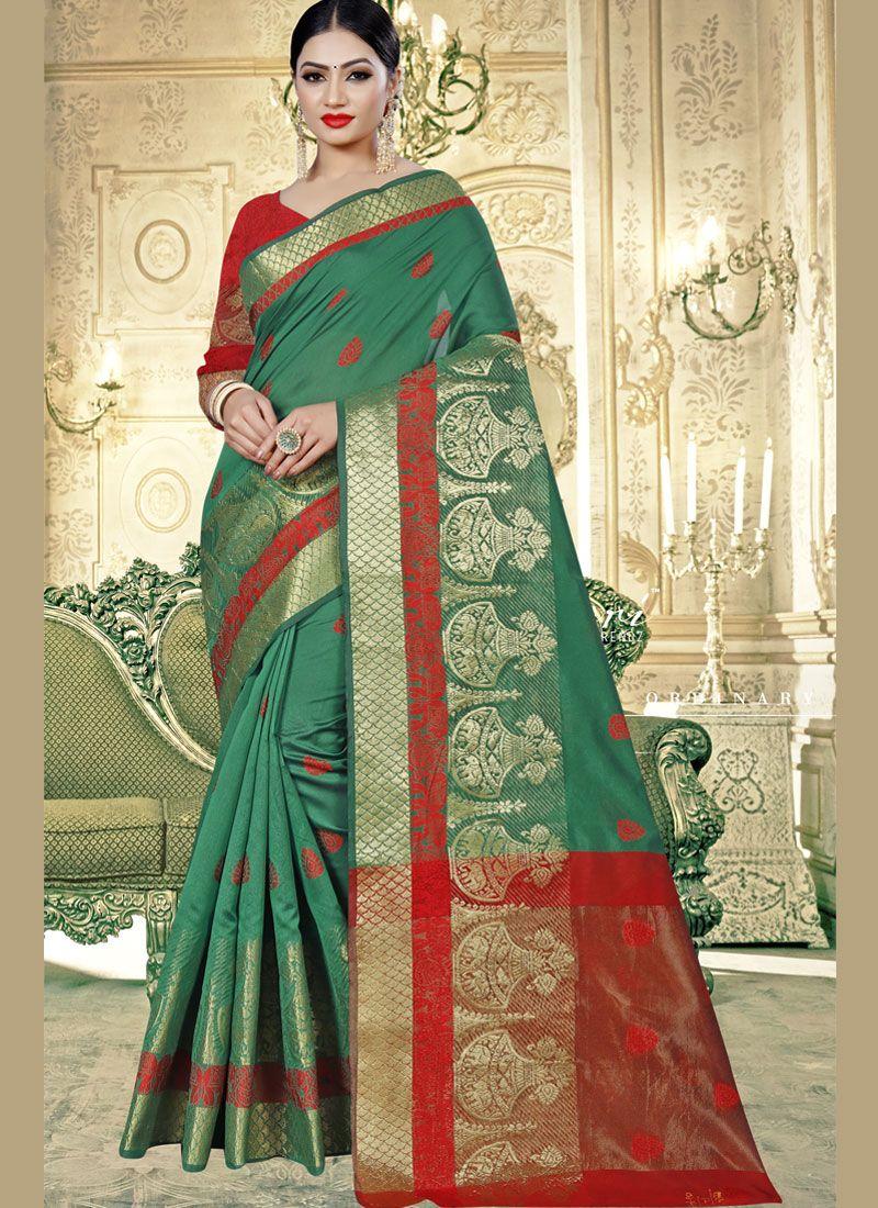 Weaving Teal Art Banarasi Silk Designer Traditional Saree