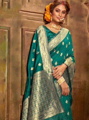 Weaving Teal Banarasi Silk Classic Saree