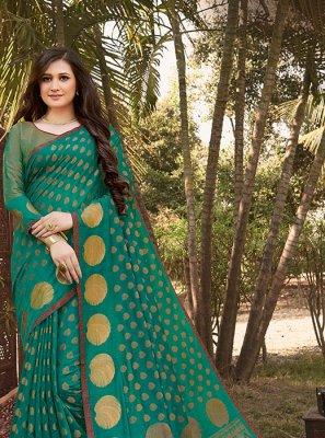 Weaving Teal Designer Saree