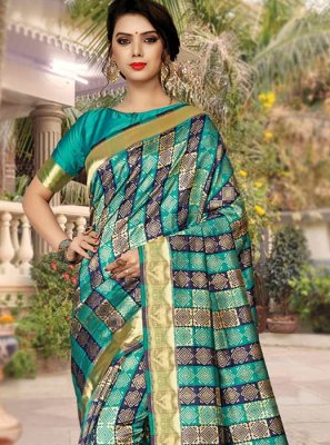 Weaving Teal Silk Traditional Saree