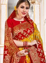 Weaving Viscose Red and Yellow Classic Designer Saree