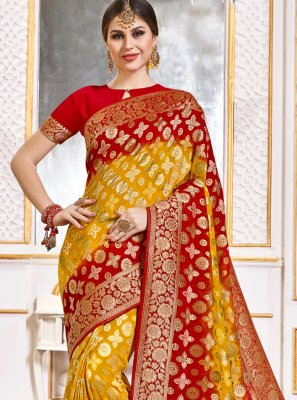 Weaving Viscose Red and Yellow Classic Designer Saree