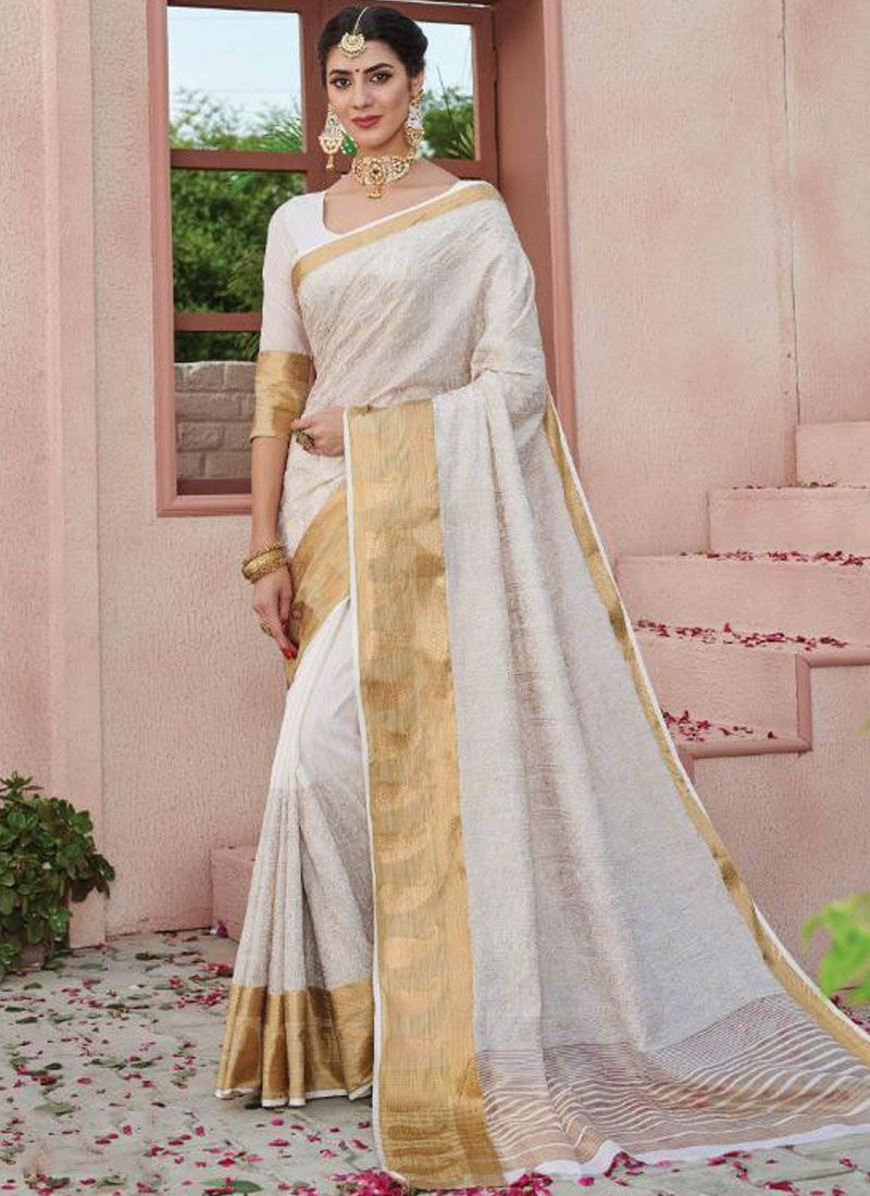 Weaving White Art Silk Silk Saree