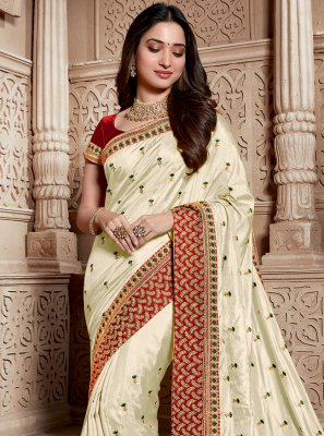 Weaving White Silk Classic Saree