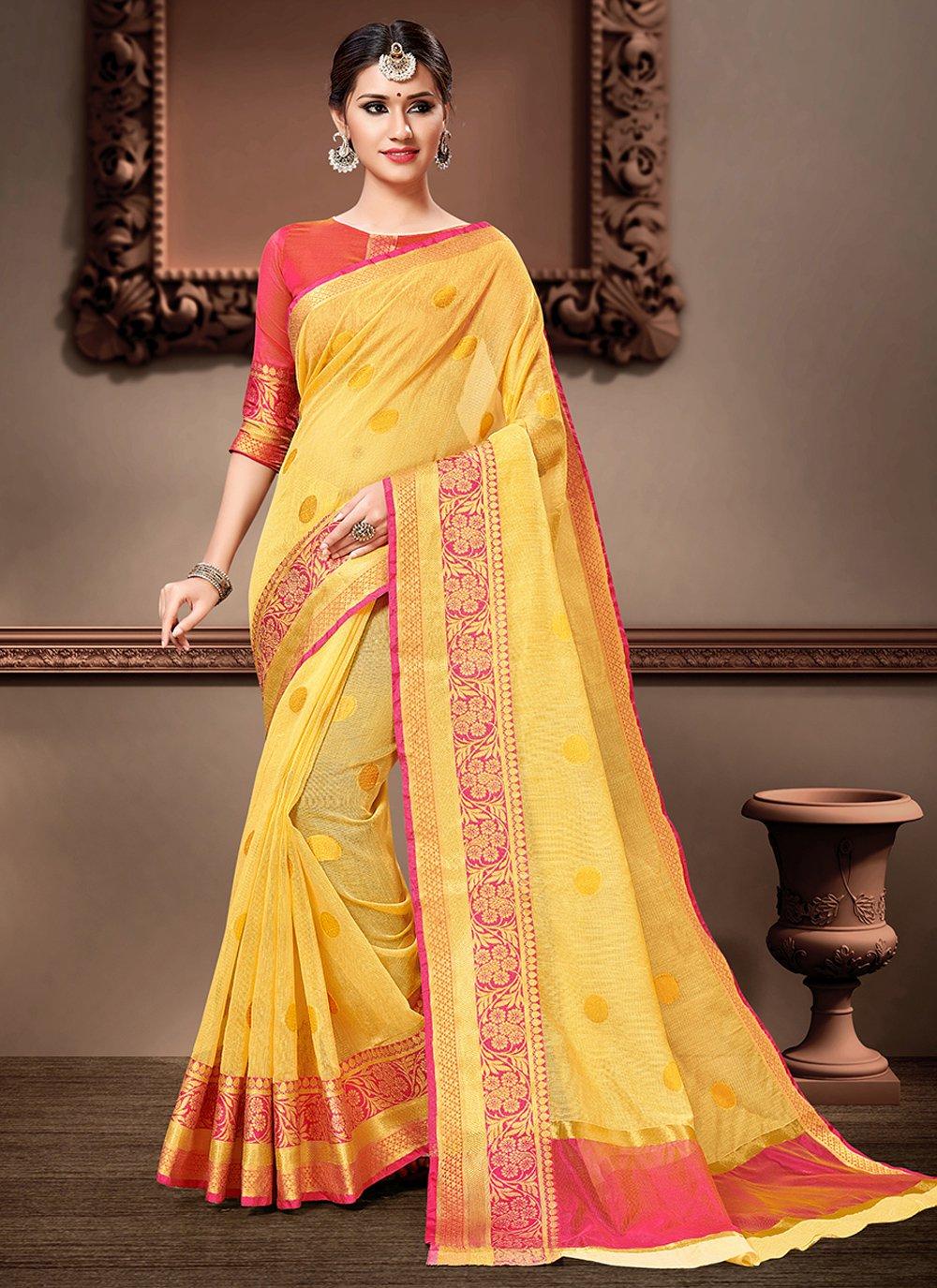 Weaving Yellow Bollywood Saree