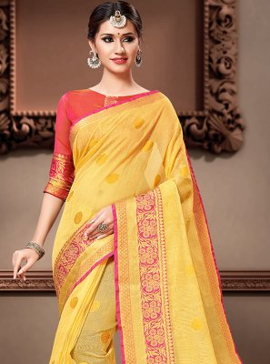 Weaving Yellow Bollywood Saree