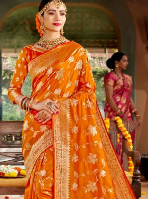 Weaving Yellow Classic Designer Saree
