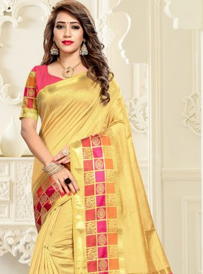 Weaving Yellow Cotton Silk Saree