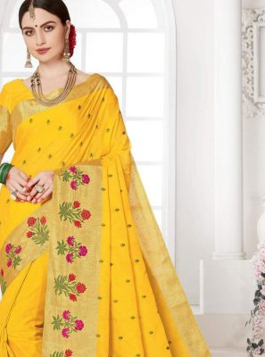 Weaving Yellow Designer Saree