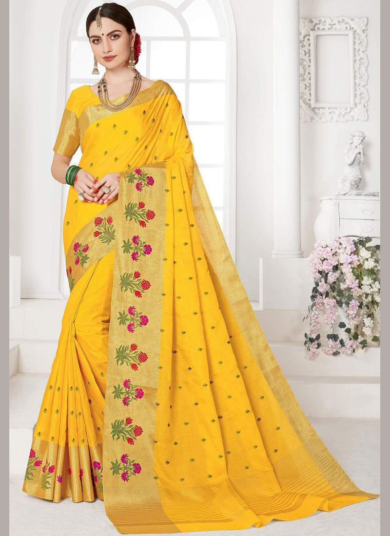 Weaving Yellow Designer Saree