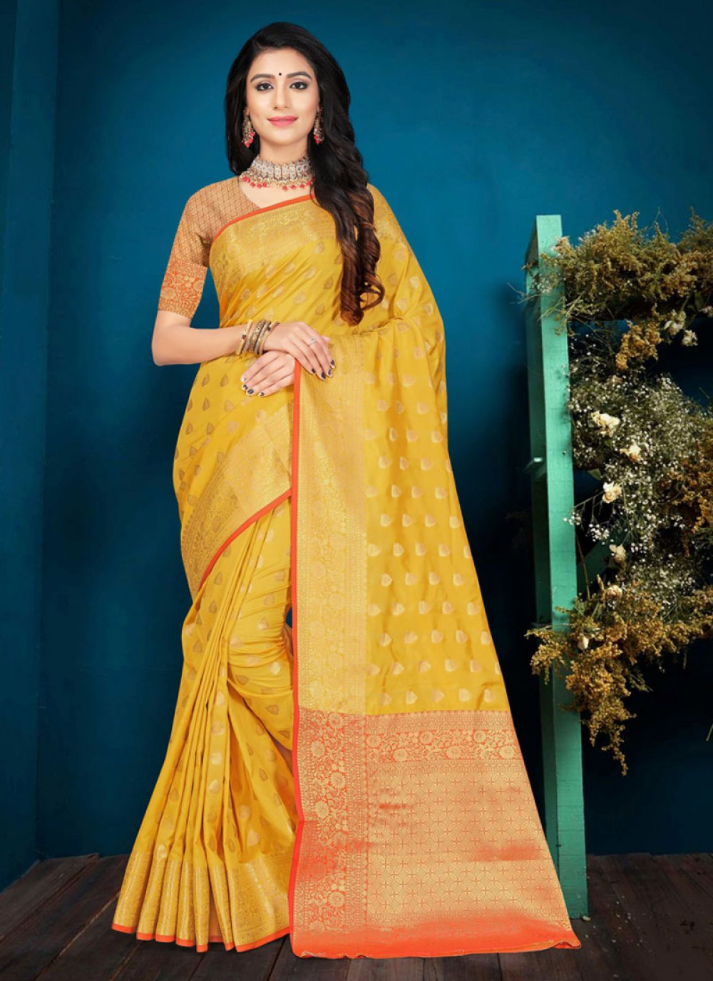 Weaving Yellow Silk Contemporary Saree