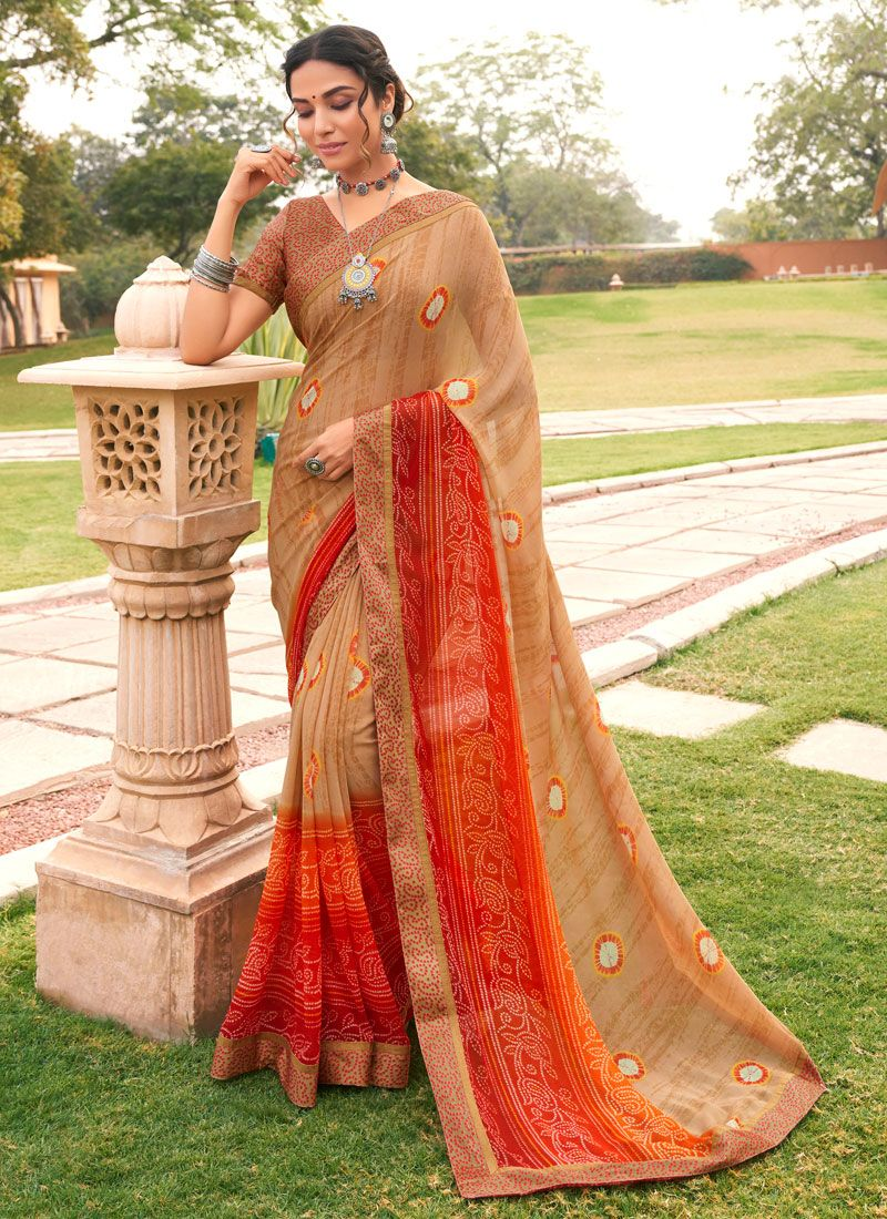 Weight Less Abstract Print Multi Colour Printed Saree