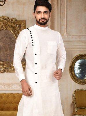 White Art Silk Indo Western