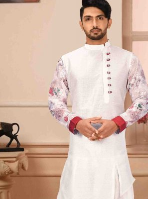 White Art Silk Kurta Pyjama