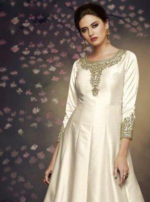 White Art Silk Reception Salwar Suit