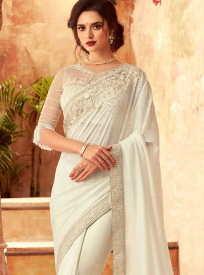 White Ceremonial Designer Traditional Saree