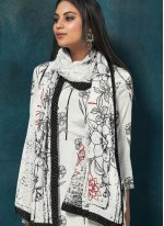 White Chinon Salwar Suit