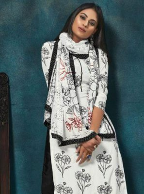 White Chinon Salwar Suit