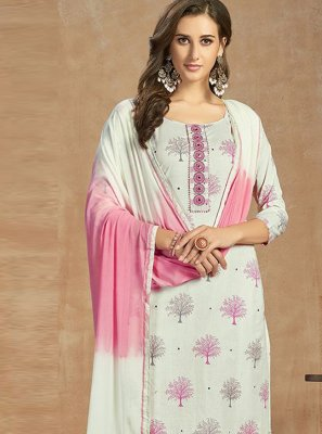 White Cotton Thread Work Salwar Kameez