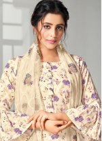 White Digital Print Festival Bollywood Salwar Kameez