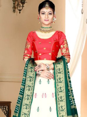 White Digital Print Silk Lehenga Choli
