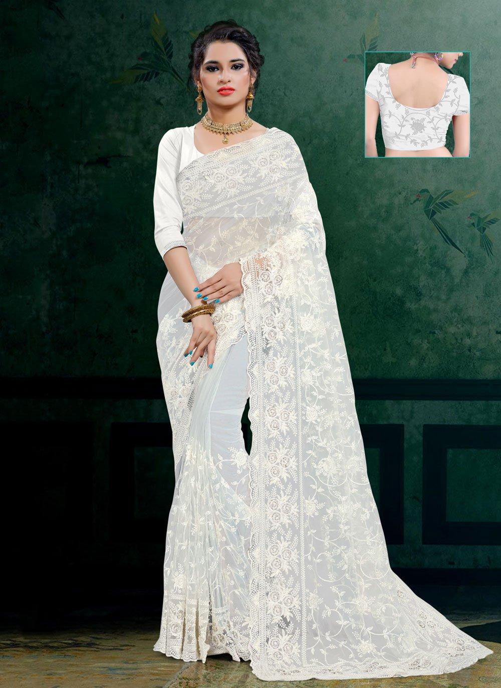 White Embroidered Contemporary Saree