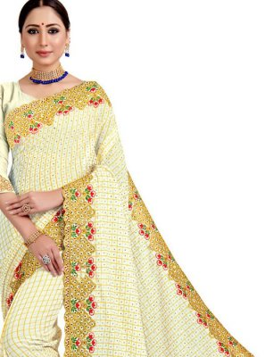 White Embroidered Festival Designer Saree