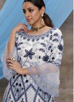 White Embroidered Net Designer Gown