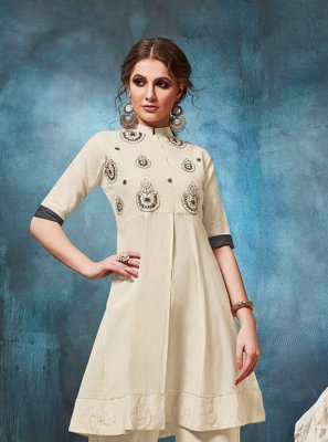 White Embroidered Party Wear Kurti