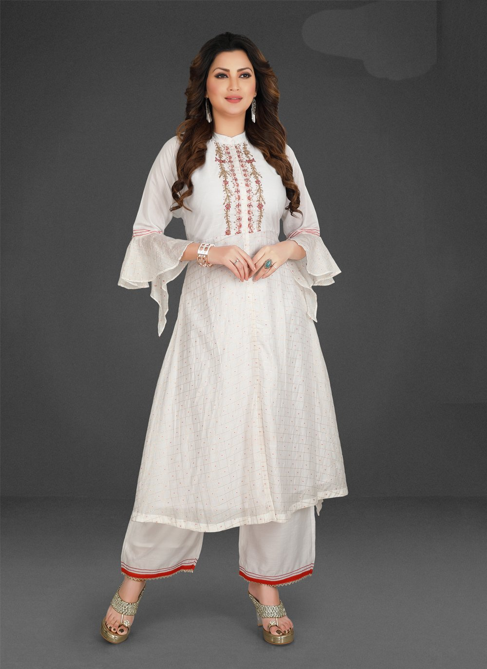 White Embroidered Silk Palazzo Designer Salwar Suit