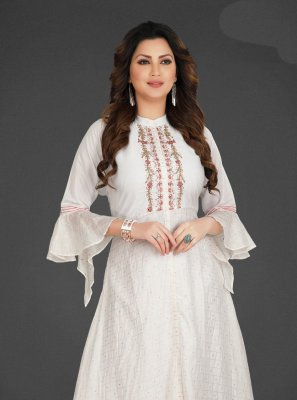 White Embroidered Silk Palazzo Designer Salwar Suit