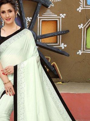 White Embroidered Silk Silk Saree
