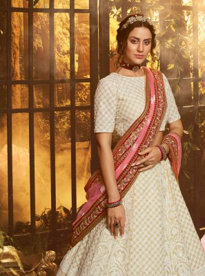White Engagement Designer Lehenga Choli