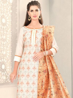 White Fancy Churidar Designer Suit