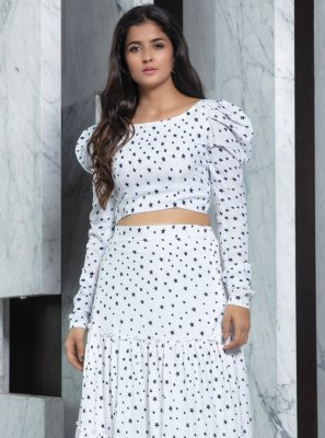 White Faux Crepe Designer Lehenga Choli