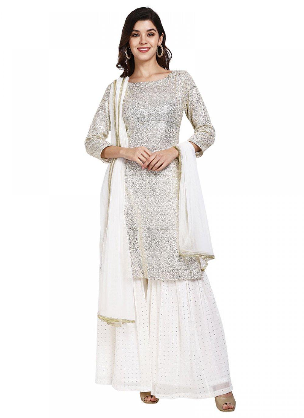 White Festival Faux Georgette Designer Pakistani Suit