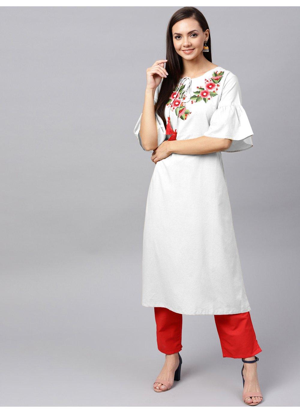 White Festival Salwar Kameez
