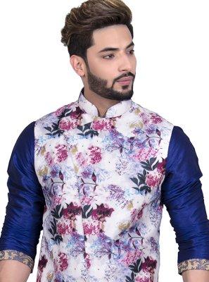 White Floral Print Art Silk Nehru Jackets