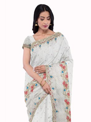White Georgette Embroidered Saree