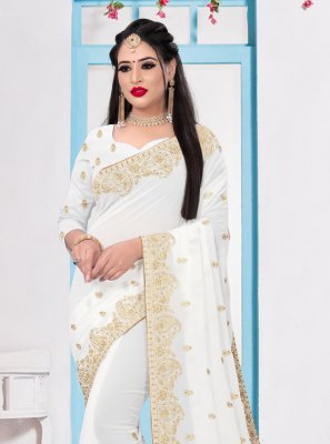 White Georgette Party Bollywood Saree