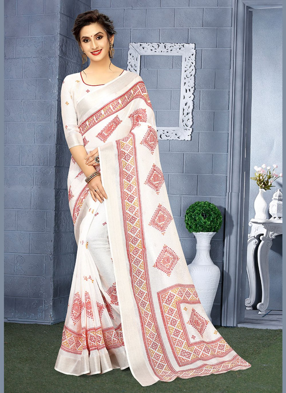 White Linen Casual Casual Saree