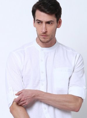 White Mehndi Cotton Kurta
