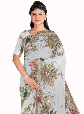 White Mehndi Georgette Saree