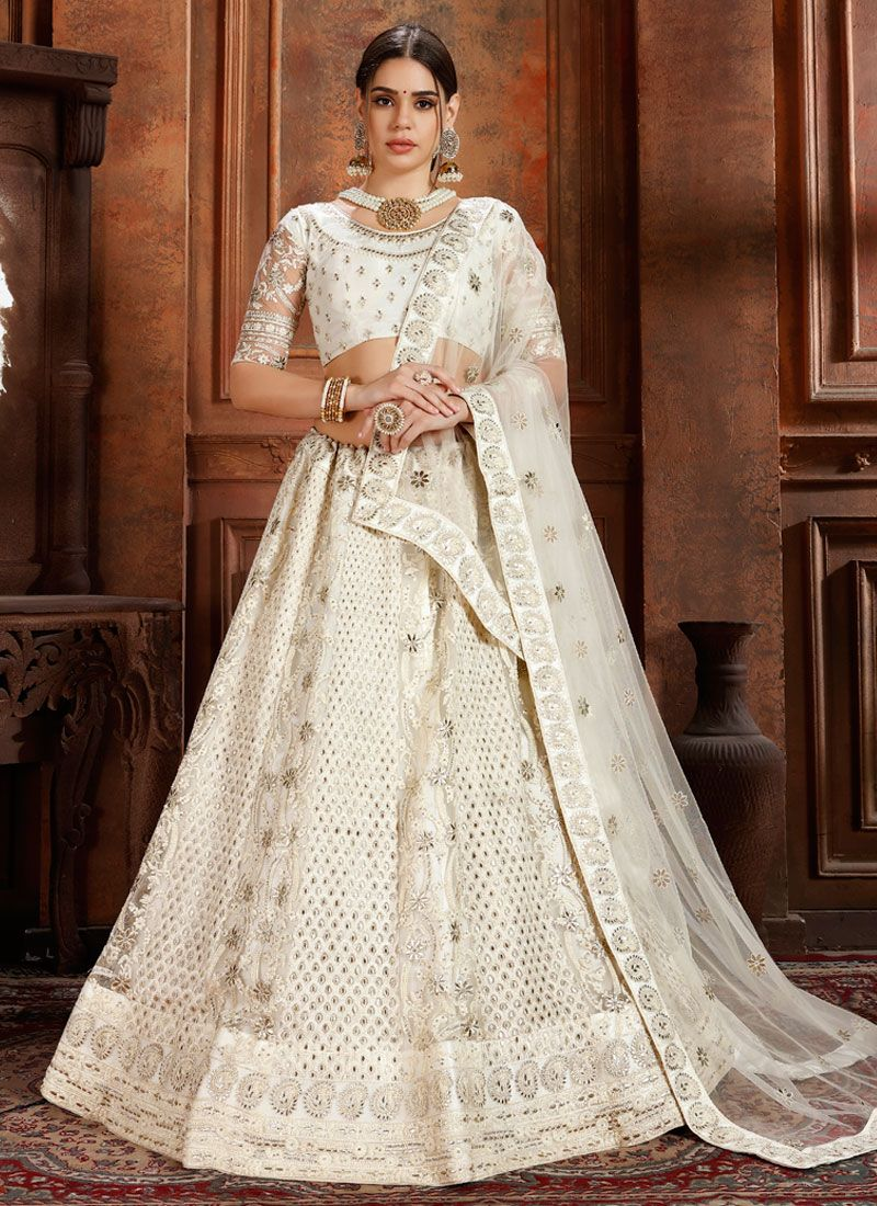 White Net Designer Lehenga Choli