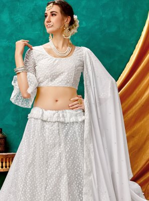 White Net Embroidered A Line Lehenga Choli