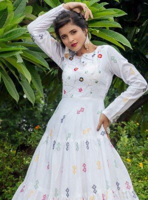 White Party Cotton Designer Gown