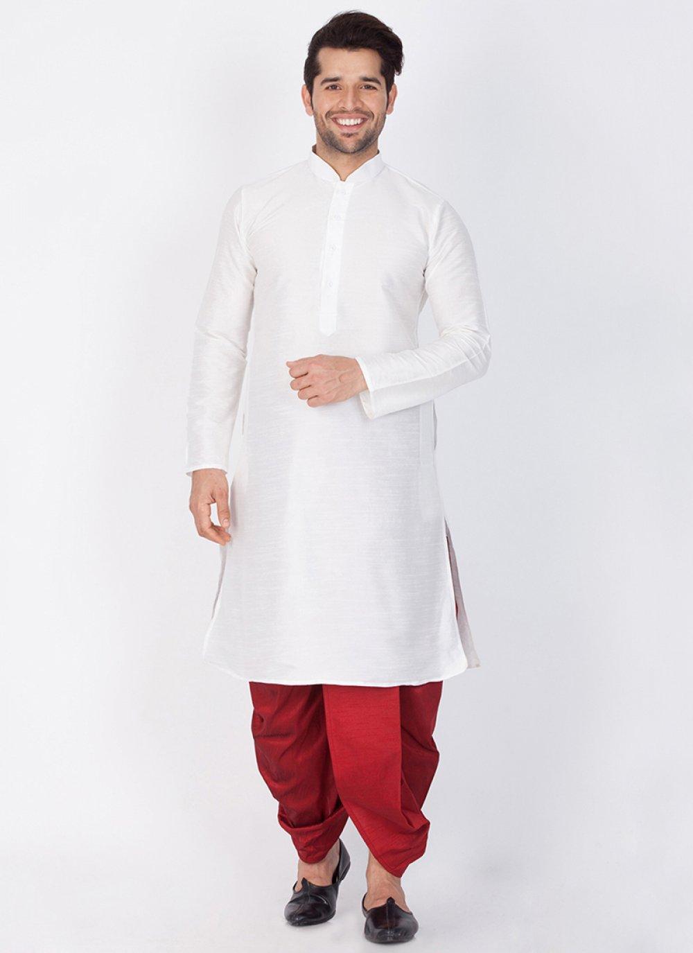 White Plain Art Banarasi Silk Dhoti Kurta