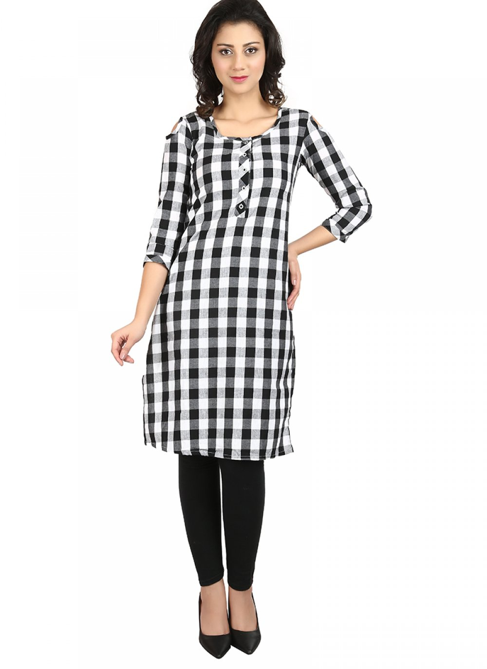 White Printed Cotton Casual Kurti