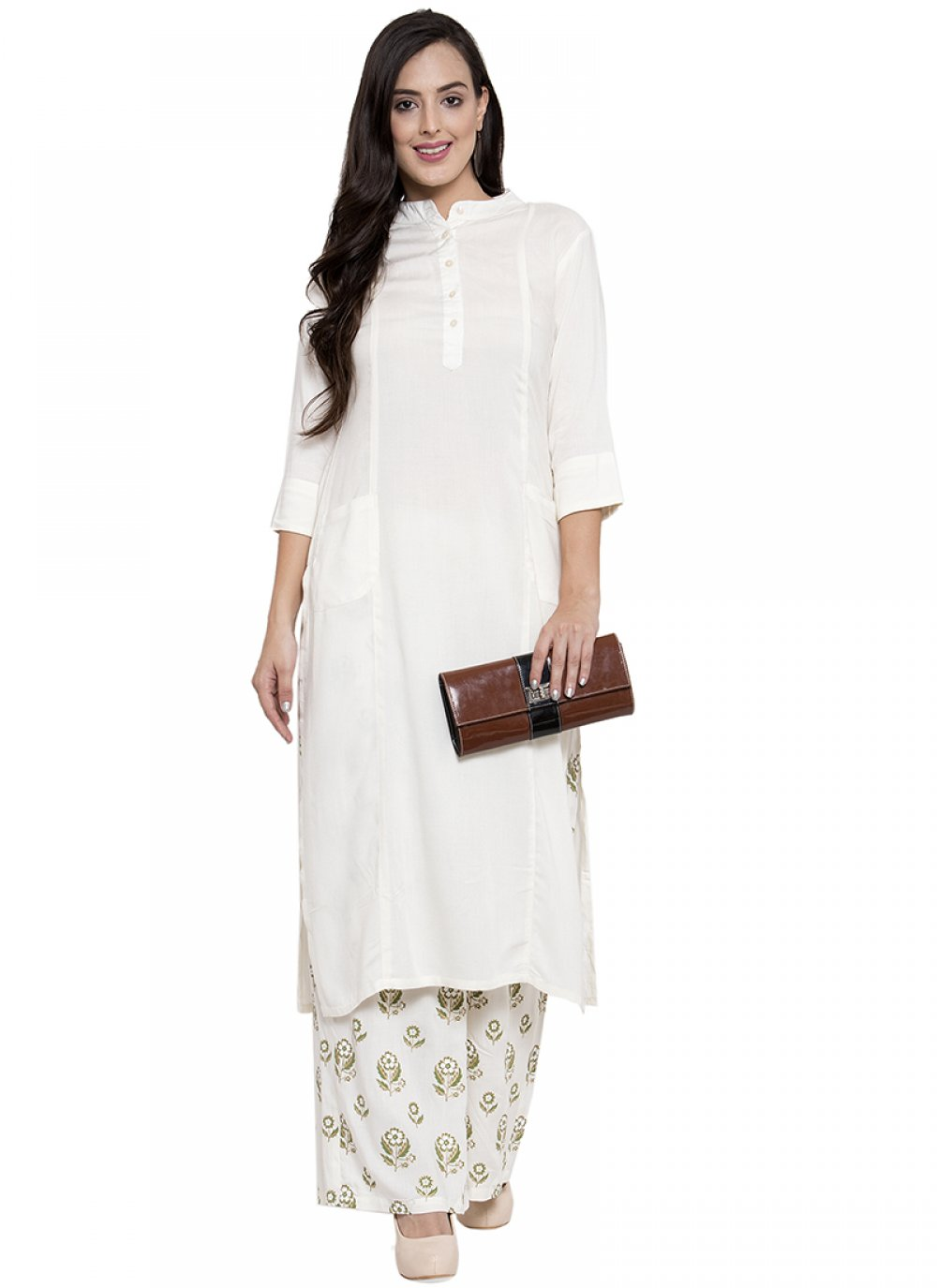 White Printed Festival Party Wear Kurti